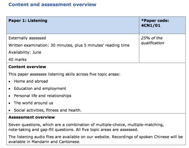 Assessment overview Listening